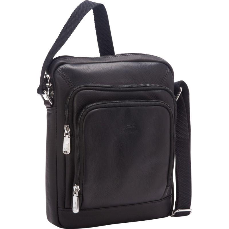 マンシニレザーグッズ メンズ ショルダーバッグ バッグ RFID Tablet Shoulder Bag Black