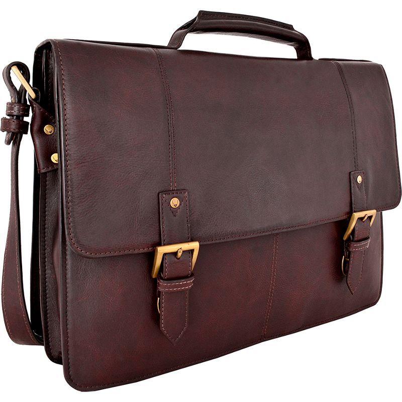 ハイデザイン メンズ スーツケース バッグ Charles Large Double Gusset Leather 17 Laptop Compatible Briefcase Work Bag Brown