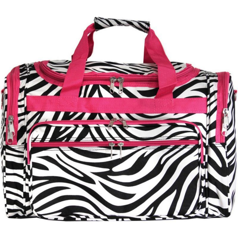 ワールドトラベラー メンズ スーツケース バッグ Zebra 19 Shoulder Duffle Bag Pink Trim Zebra