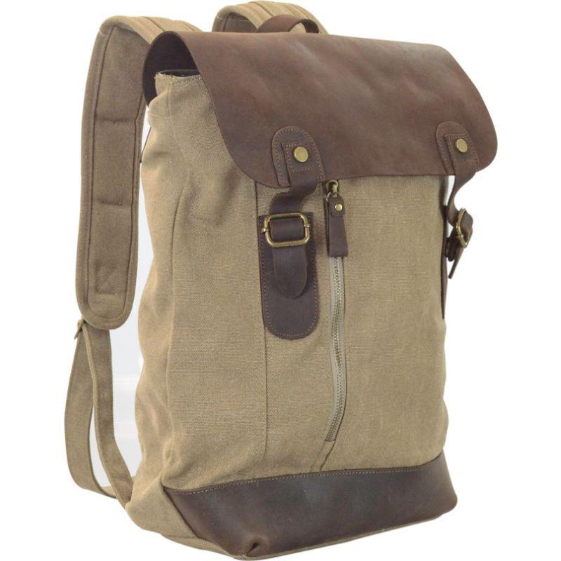 アールアンドアール メンズ バックパック・リュックサック バッグ Canvas Backpack Bag With Leather On Flap Khaki