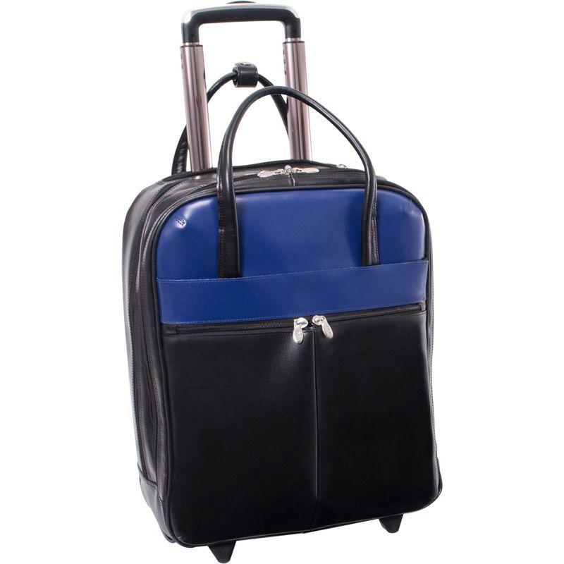 マックレイン メンズ スーツケース バッグ Volo 15.6 Leather Laptop Overnighter Wheeled Carry-on Black/Navy
