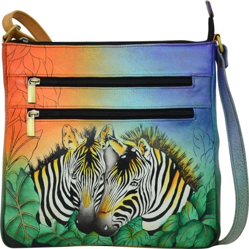 アンナバイアナシュカ メンズ ボディバッグ・ウエストポーチ バッグ Hand Painted Medium Organizer Crossbody Zebra Safari