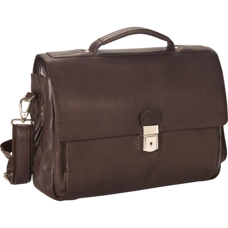 マンシニレザーグッズ メンズ スーツケース バッグ Colombian Triple Compartment 15 Laptop/Tablet Flap Briefcase Brown