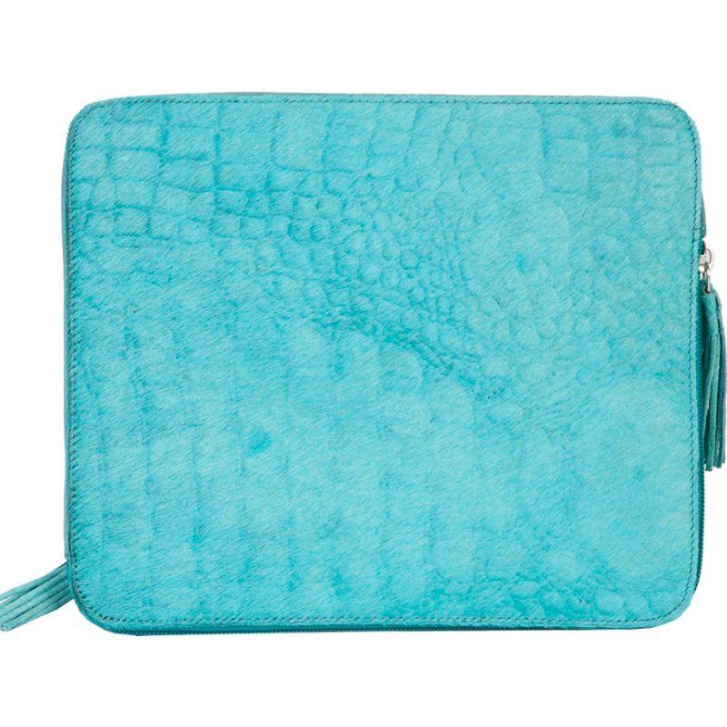 スカーリー メンズ PC・モバイルギア アクセサリー Croco Embossed Leather Tablet Sleeve Blue