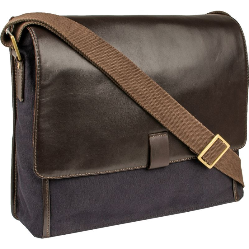 スカーリー メンズ ショルダーバッグ バッグ Cambria Messenger Workbag Brown Leather & Midnight Navy Canvas