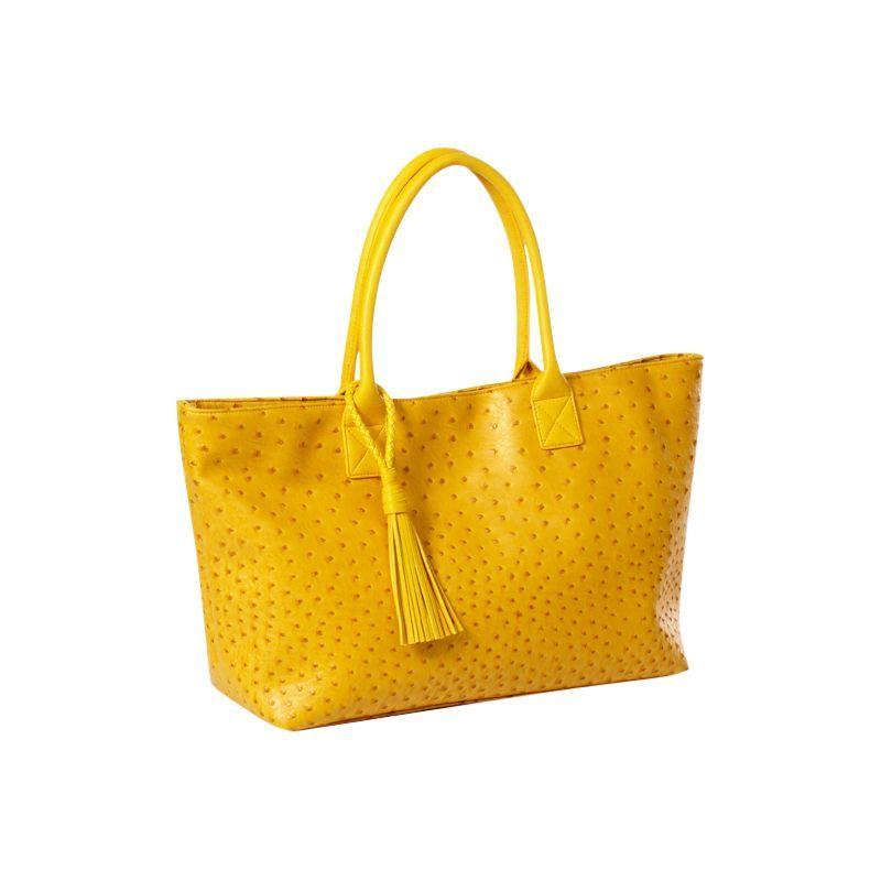クレバ メンズ トートバッグ バッグ Jemma Faux Ostrich Market Tote Yellow