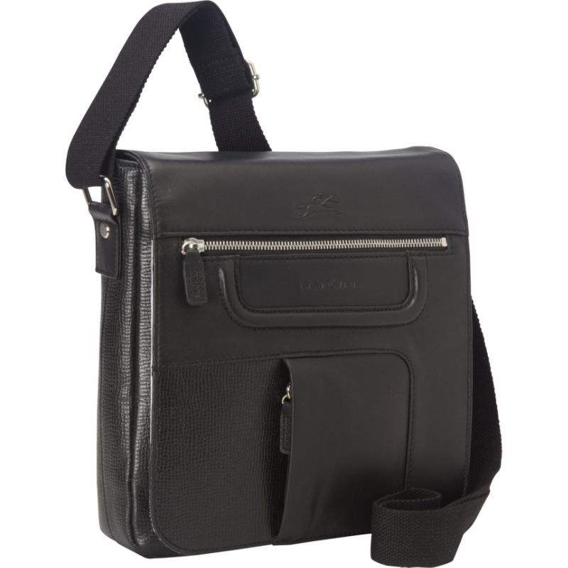 マンシニレザーグッズ メンズ ショルダーバッグ バッグ Tablet Bag (w/ RFID Secure Pocket) Black