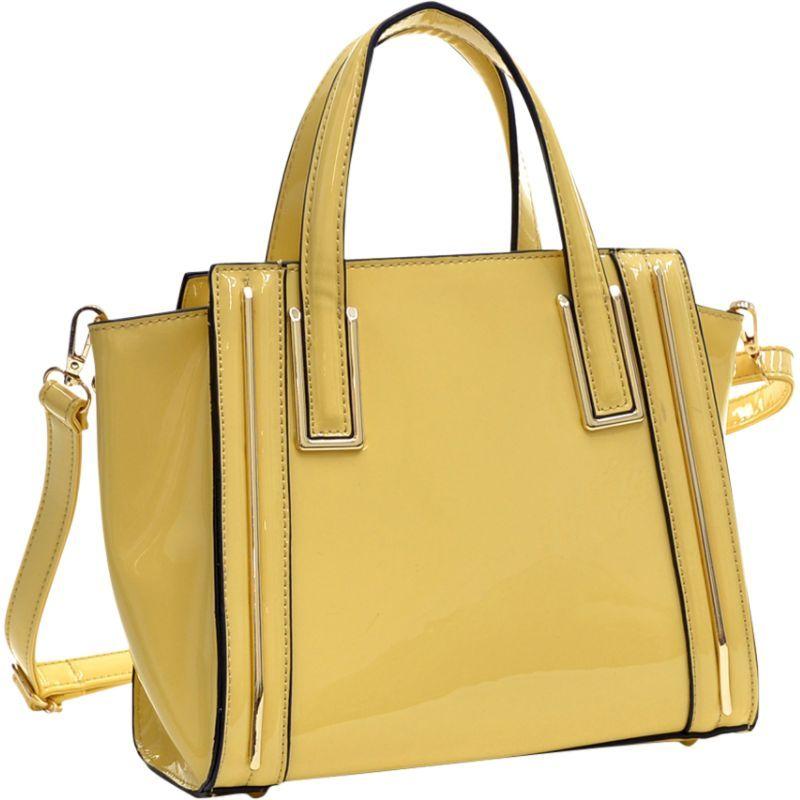 ダセイン メンズ トートバッグ バッグ Patent Leather Winged Tote Satchel Yellow