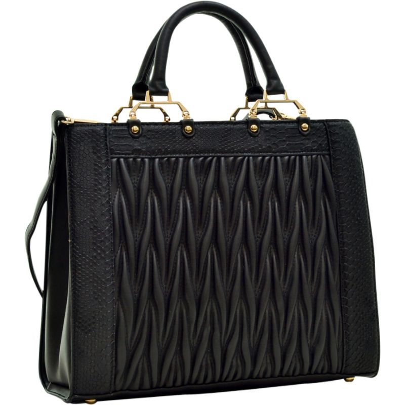 ダセイン メンズ トートバッグ バッグ Textured Leather with Croco Metallic Trim Tote Black