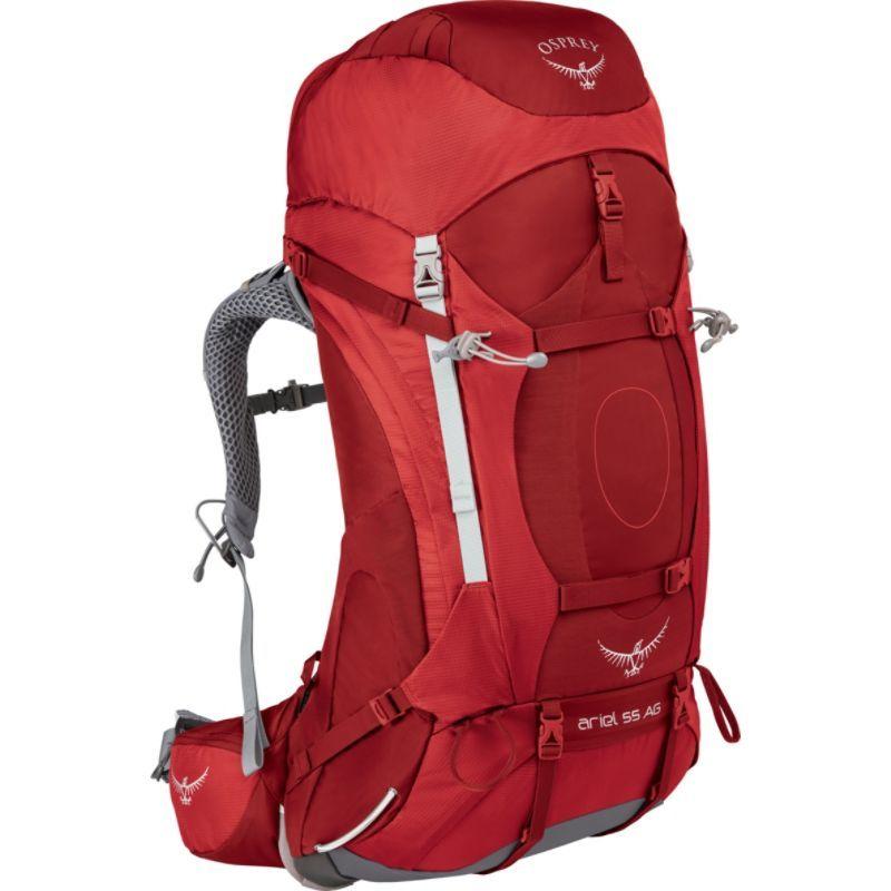 オスプレー レディース バックパック・リュックサック バッグ Womens Ariel AG 55 Hiking Pack Picante Red WS