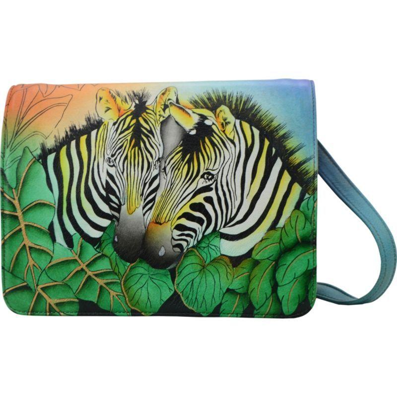 アンナバイアナシュカ メンズ ボディバッグ・ウエストポーチ バッグ Hand Painted Medium Saddle Crossbody Zebra Safari
