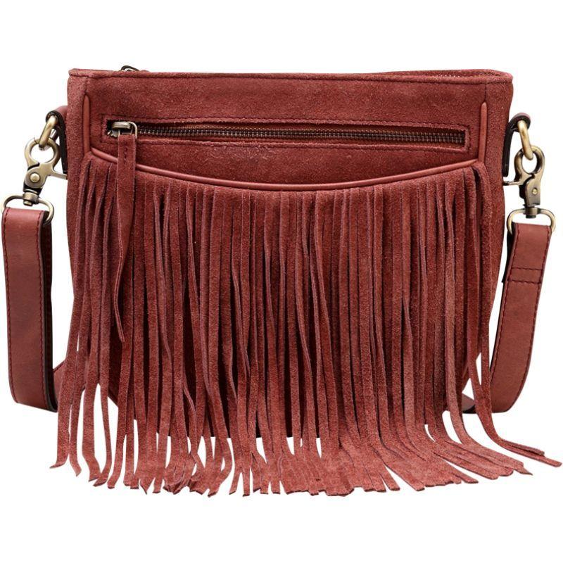 ビンセンゾレザー メンズ ボディバッグ・ウエストポーチ バッグ Ivonne Suede leather Fringe Crossbody Handbag Chestnut