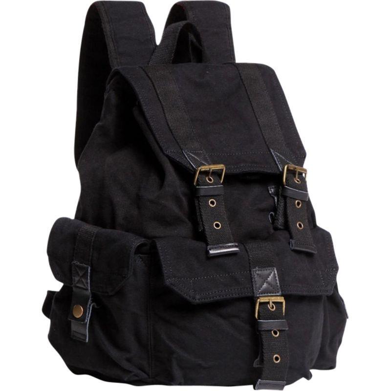 ヴァガボンドトラベラー メンズ バックパック・リュックサック バッグ Washed Canvas Backpack Black