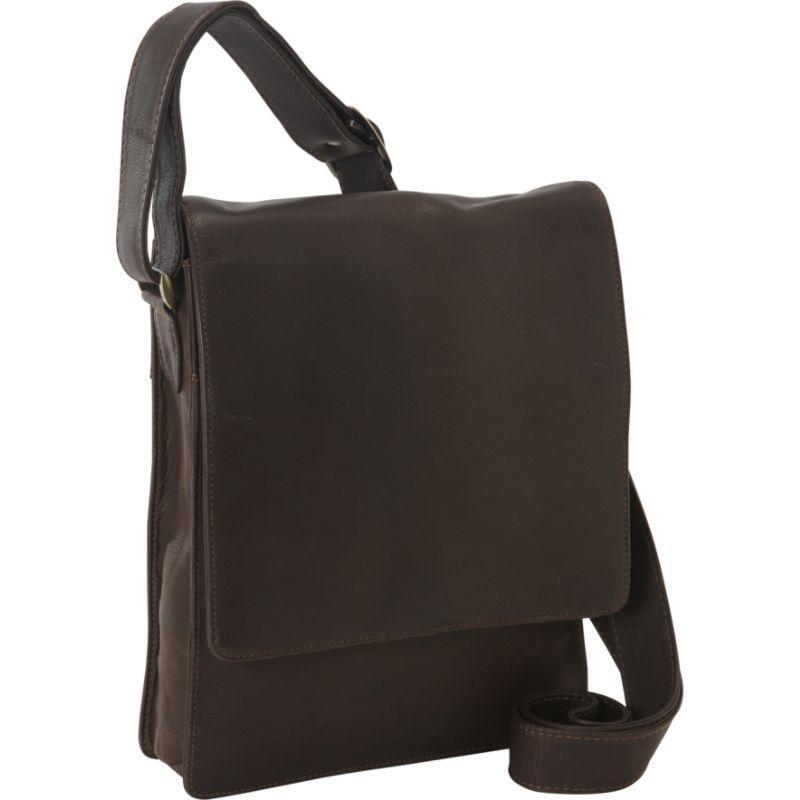 デレクアレクサンダー メンズ ショルダーバッグ バッグ NS 3/4 Flap Unisex Organizer Bag Brown