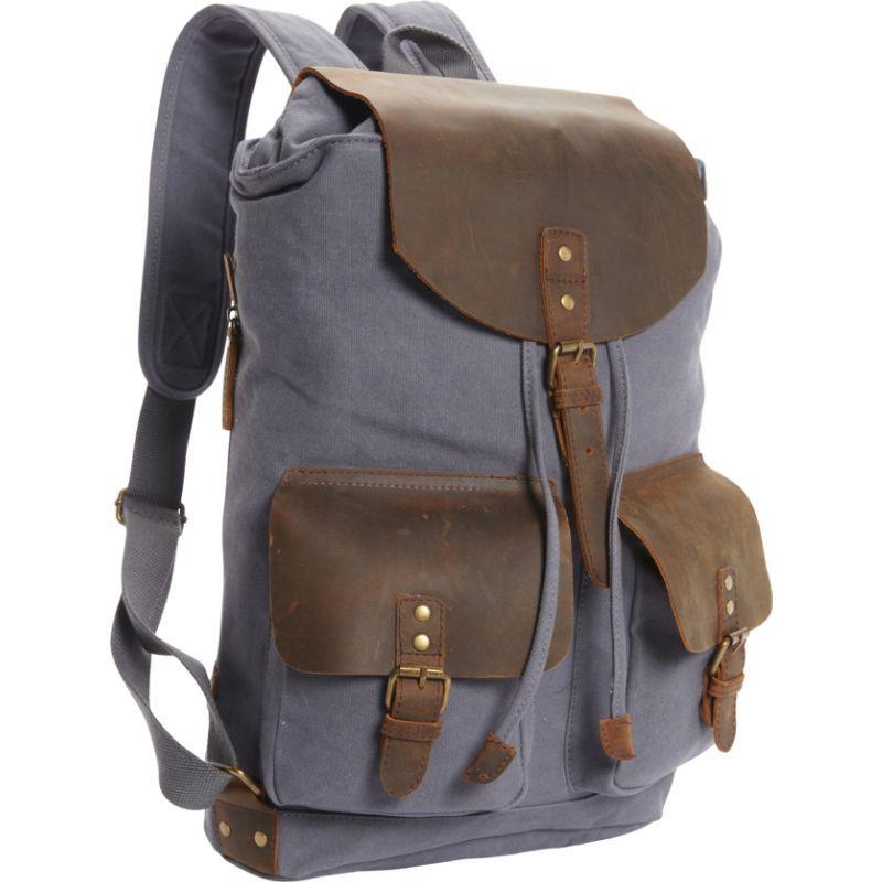 ヴァガボンドトラベラー メンズ バックパック・リュックサック バッグ Hiking Sport Cowhide Leather Cotton Canvas Backpack Blue Grey