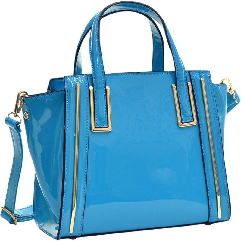 ダセイン メンズ トートバッグ バッグ Patent Leather Winged Tote Satchel Blue