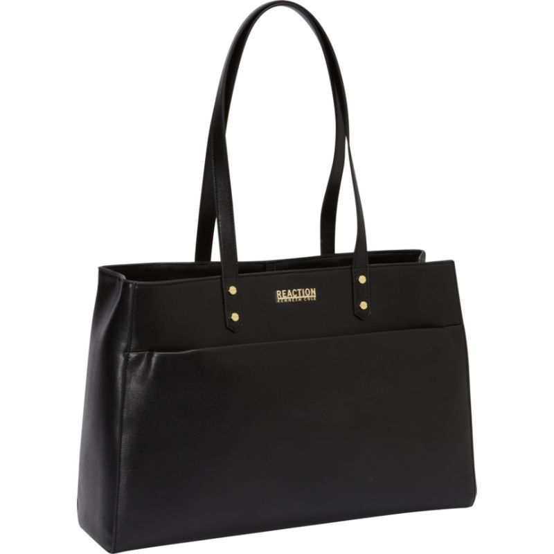 ケネスコール レディース スーツケース バッグ Trench Tote Womens Computer Tote Black with Gold Plated Hardware