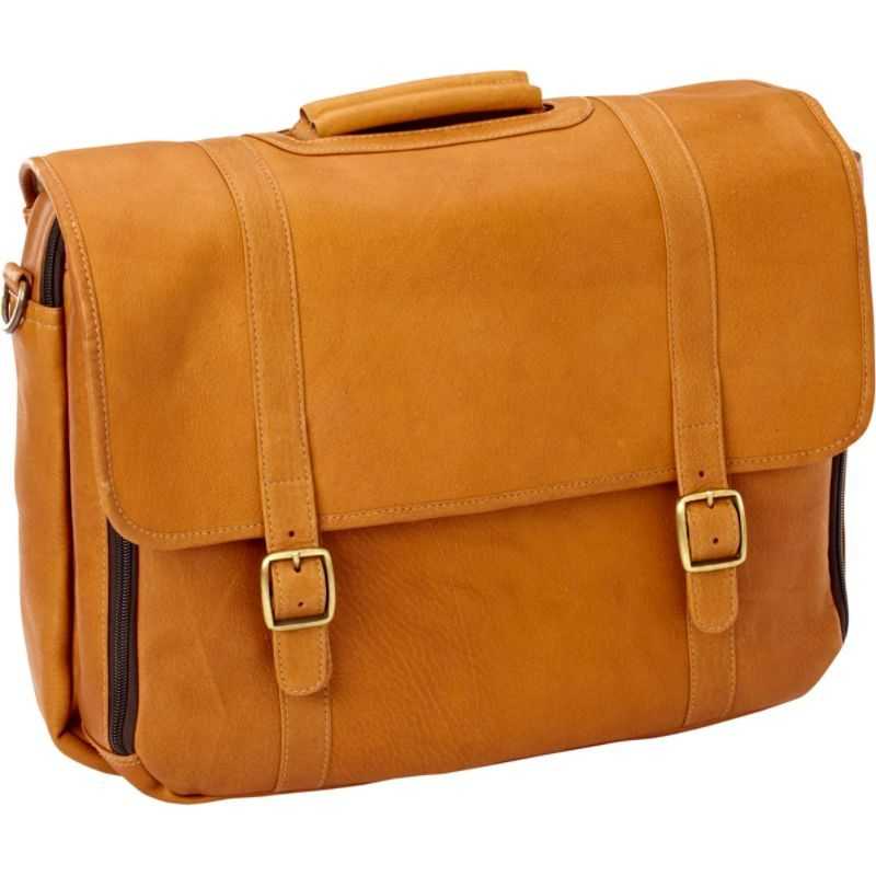 クレバ メンズ スーツケース バッグ Leather Gusset Laptop Briefcase Vachetta Tan