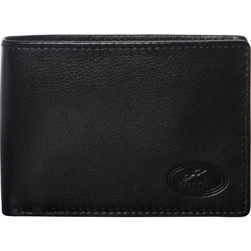 マンシニレザーグッズ メンズ 財布 アクセサリー Mens RFID Secure Center Wing Wallet Black