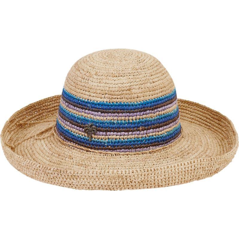 サンアンドサンド メンズ 帽子 アクセサリー Natural Raffia Finely Crocheted A-Blue