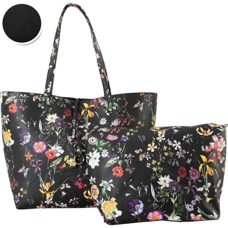 ディオフィ メンズ トートバッグ バッグ Colorful Floral Pattern Two-Tone Reversible Large Tote with Matching Crossbody 2 Piece Set Black