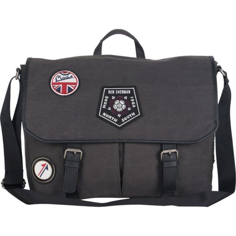 ベンシャーマン メンズ スーツケース バッグ Patch-a-Bello Road Military Distressed 15 Computer Messenger Bag with Iconic Patches Charcoal with Patches