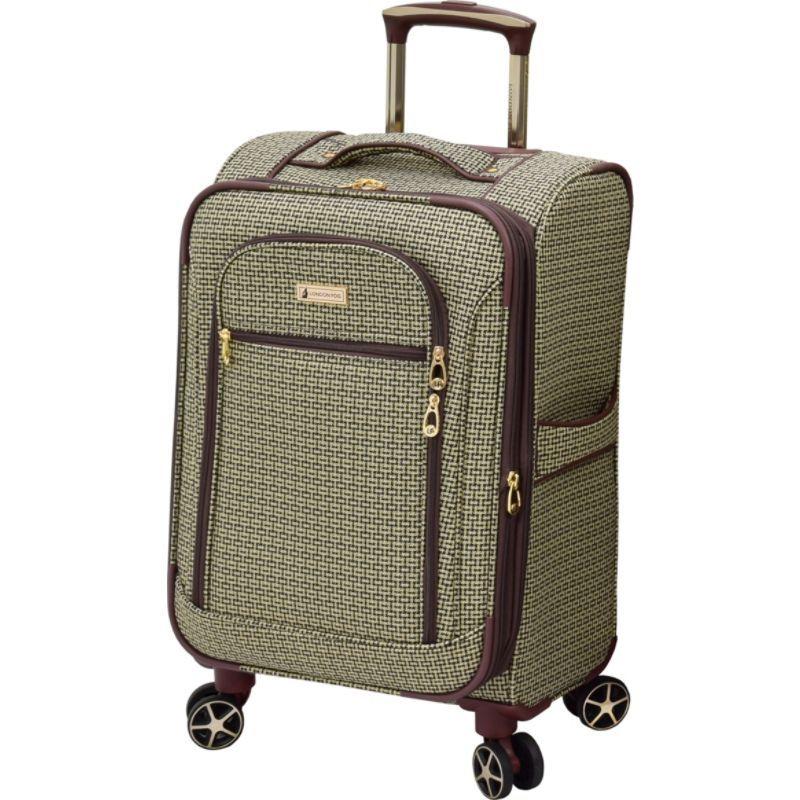 ロンドンフォグ メンズ スーツケース バッグ Softside 20 Expandable Carry-On Spinner Tan Square Jacquard