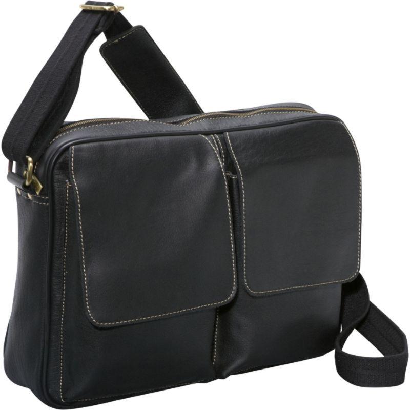 アメリ メンズ ショルダーバッグ バッグ Dual Flap Leather Messenger Black