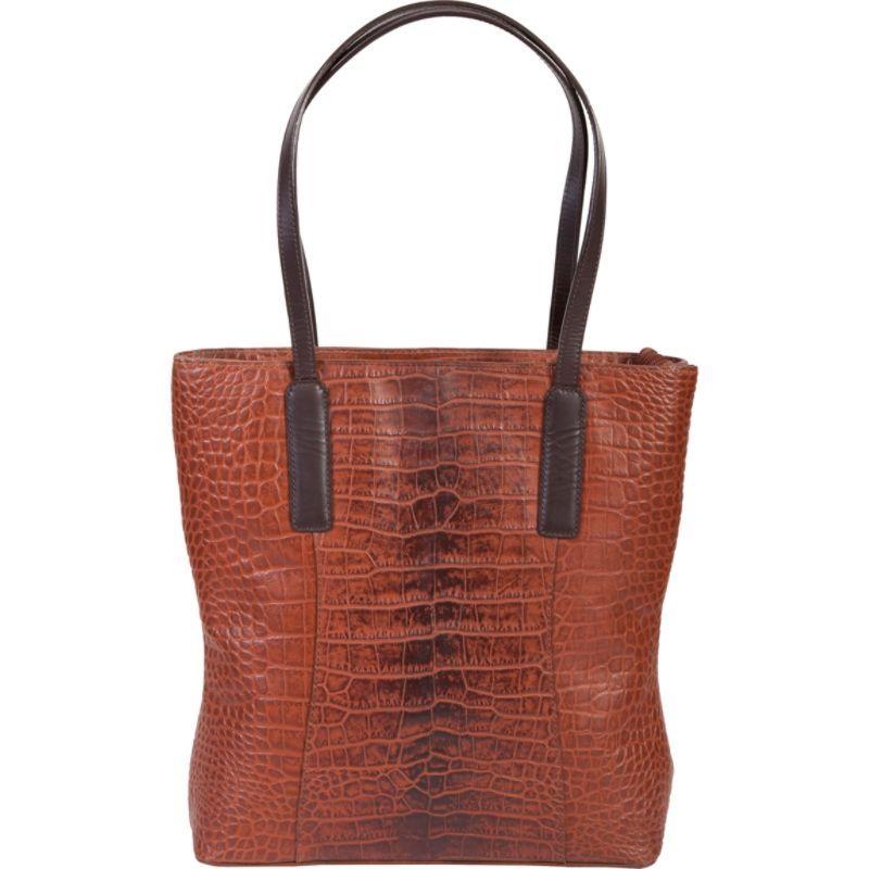 スカーリー メンズ トートバッグ バッグ Croco Embossed Leather Tote Tan