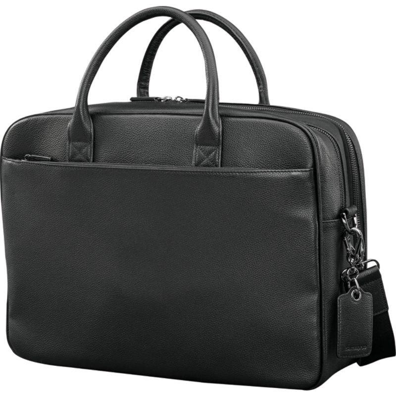 サムソナイト メンズ スーツケース バッグ Mens Leather Classic Double Compartment Briefcase Black