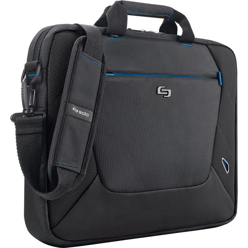 ソロ メンズ スーツケース バッグ 16 Laptop Slim Brief Black with Blue Trim
