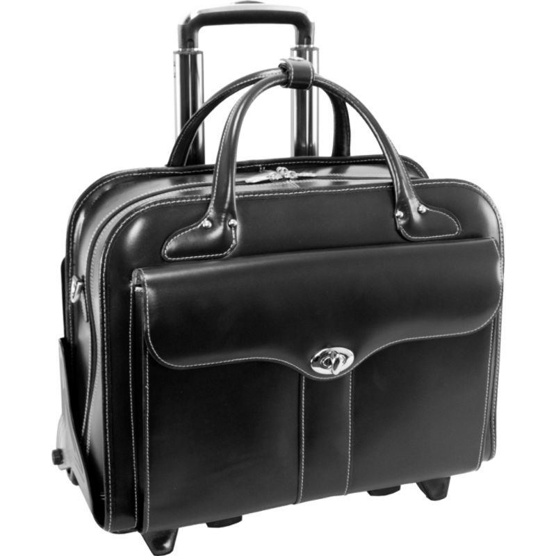 マックレイン メンズ スーツケース バッグ Berkeley 15 Leather Rolling Laptop Tote EXCLUSIVE Black