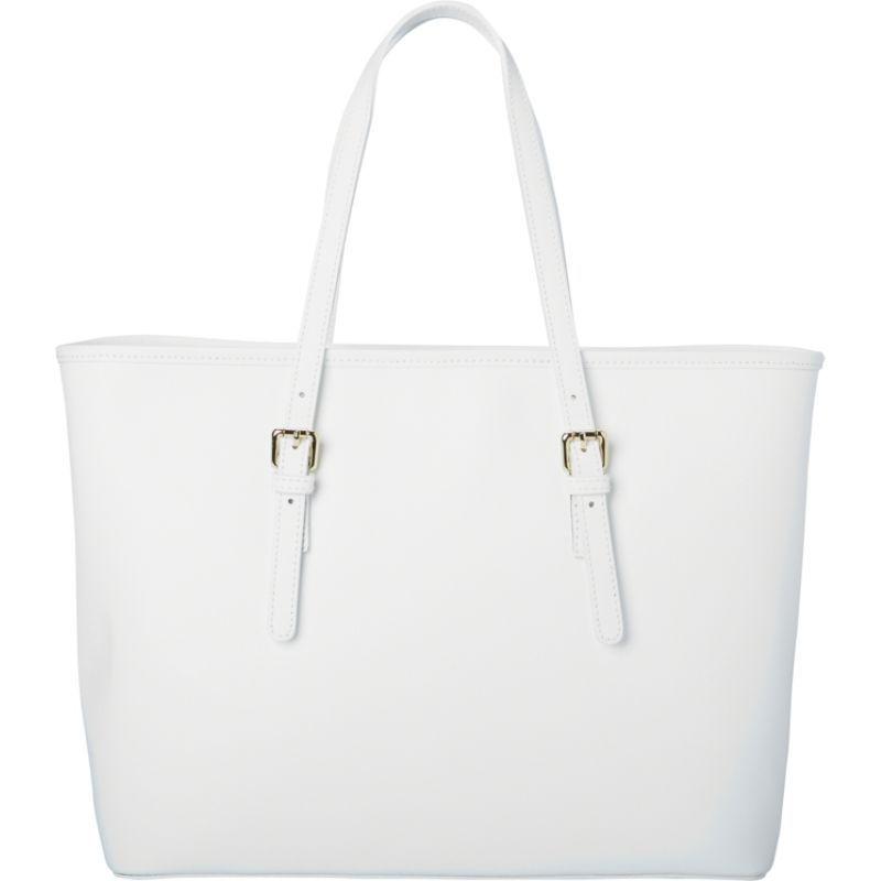 シャロレザーバッグス メンズ トートバッグ バッグ Classic Italian White Leather Handbag Tote White