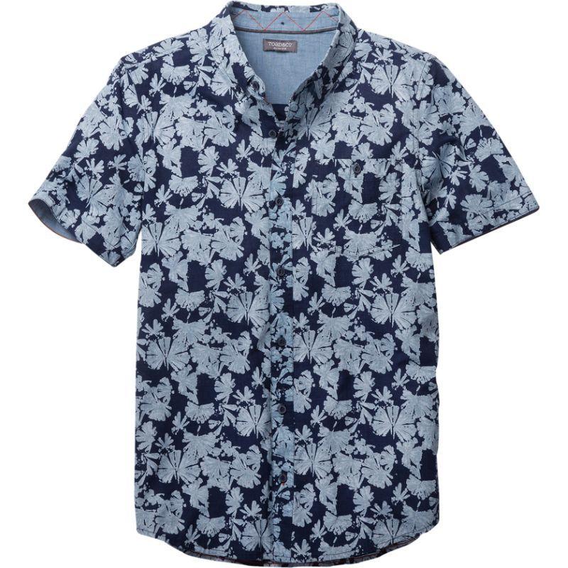 トードアンドコー メンズ シャツ トップス Mens Mattock Short Sleeve Slim Shirt Indigo Flower Print