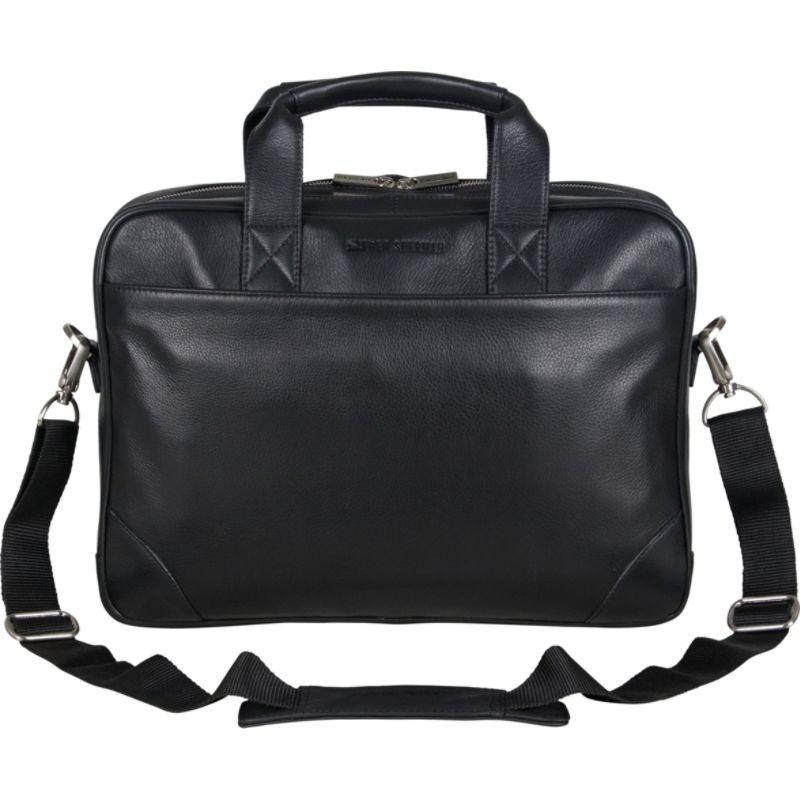 ベンシャーマン メンズ スーツケース バッグ Karino Leather Dual Compartment Top Zip 15 Computer Business Portfolio Black