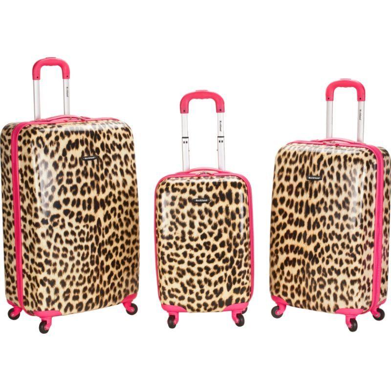 ロックランド メンズ スーツケース バッグ Leopard 3 Piece Hardside Spinner Set Pink Leopard