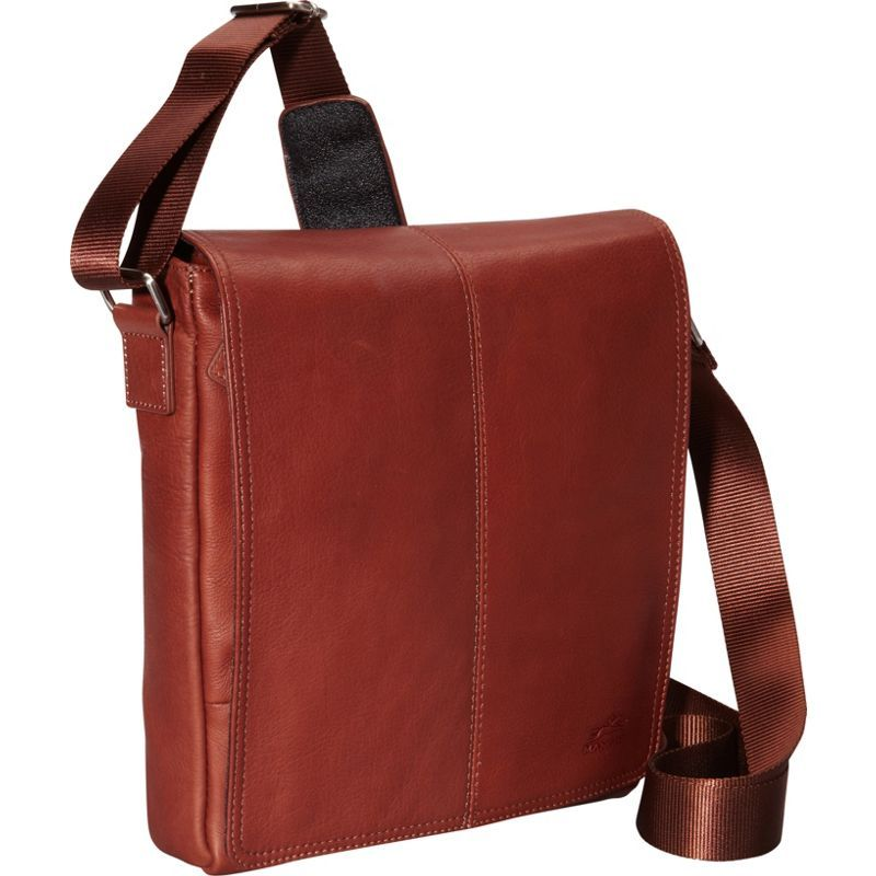 マンシニレザーグッズ メンズ ショルダーバッグ バッグ Colombian Leather Messenger Bag for Tablet/ E-reader Cognac