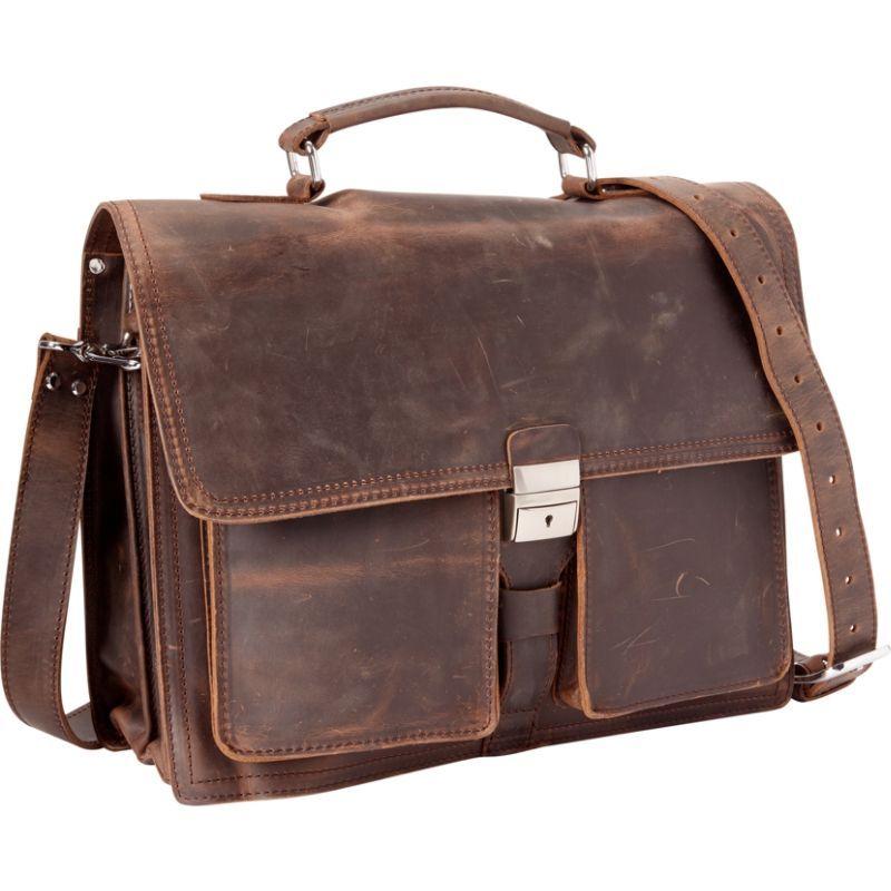 ヴァガボンドトラベラー メンズ スーツケース バッグ 16 Pro Cowhide Leather Portfolio Briefcase Dark Brown