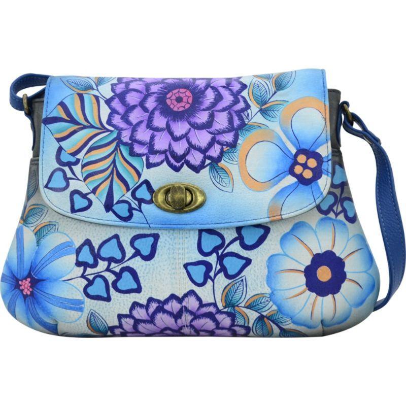 アンナバイアナシュカ メンズ ボディバッグ・ウエストポーチ バッグ Hand Painted Medium Flap Crossbody Summer Bloom Blue