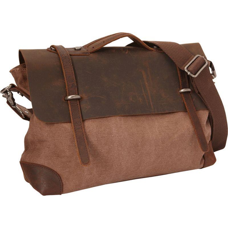 ヴァガボンドトラベラー メンズ ショルダーバッグ バッグ Casual Style Cowhide Leather Cotton Canvas Messenger Bag Coffee Brown