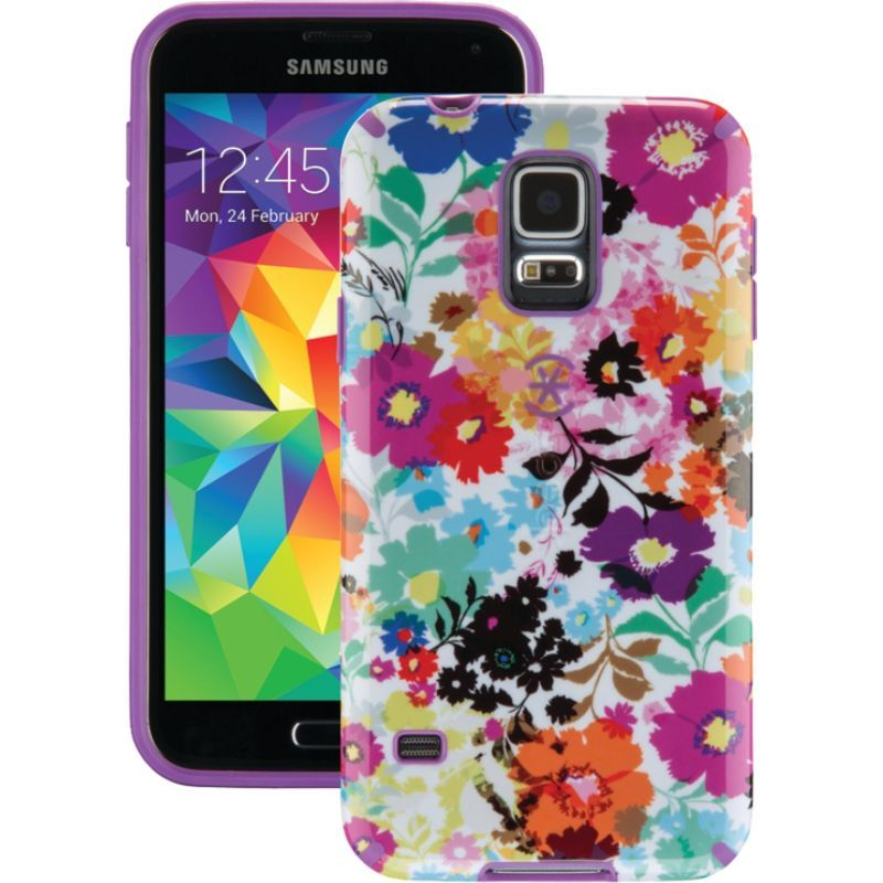 スペック メンズ PC・モバイルギア アクセサリー Samsung Galaxy S5 Candyshell Inked Case Bold Blossoms White/Revolution Purple