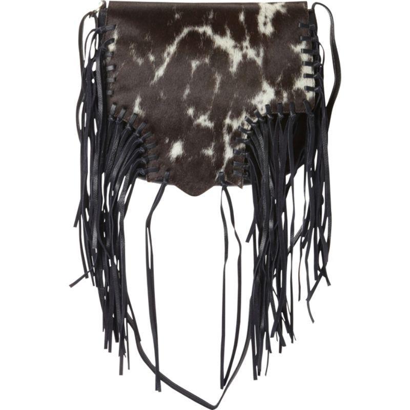 スカーリー メンズ ショルダーバッグ バッグ Calf Hair Knotted Fringe Shoulder Bag White and Brown