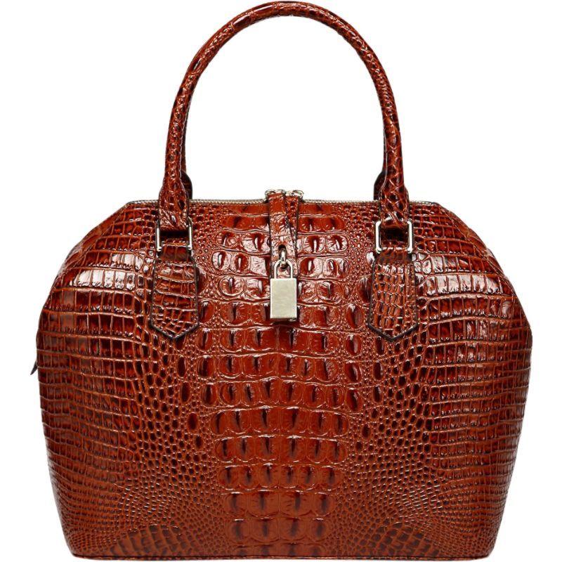 ビンセンゾレザー メンズ トートバッグ バッグ Diane Croc Embossed Top Handle Leather Tote Red