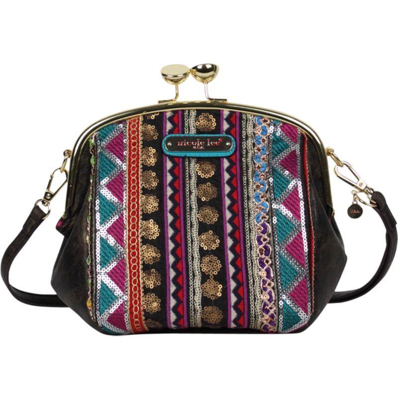 ニコルリー メンズ ショルダーバッグ バッグ Heloise Fabric Embroidered Mini Shoulder Bag Black
