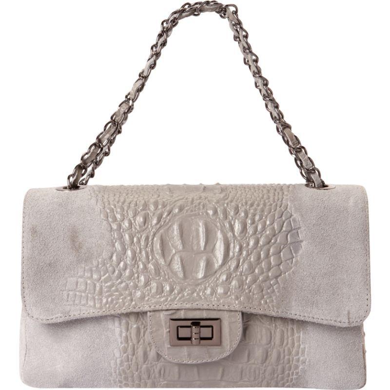 シャロレザーバッグス メンズ ショルダーバッグ バッグ Alligator Print Two-Tone Shoulder Bag Grey