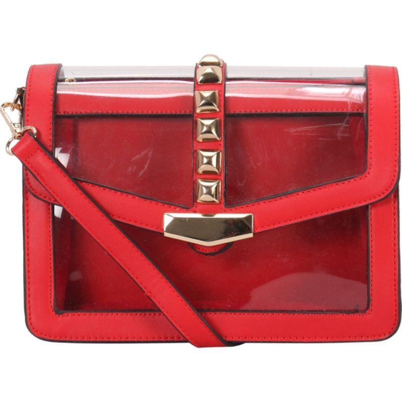 ディオフィ メンズ ボディバッグ・ウエストポーチ バッグ Studded Half Clear Crossbody Red