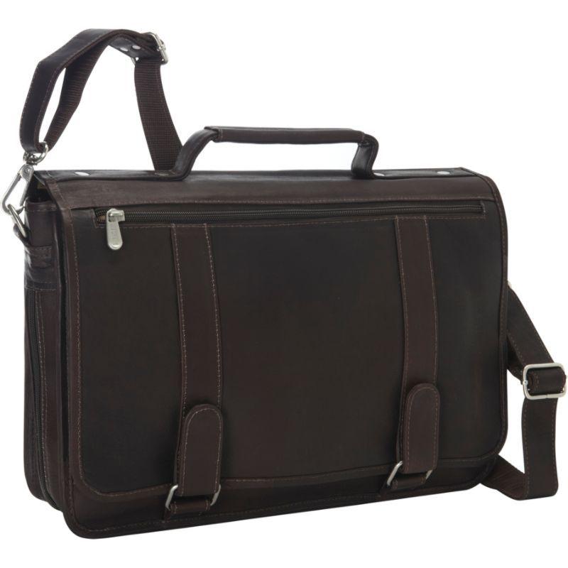 ピエール メンズ スーツケース バッグ Double Loop Leather Expandable Laptop Briefcase Chocolate
