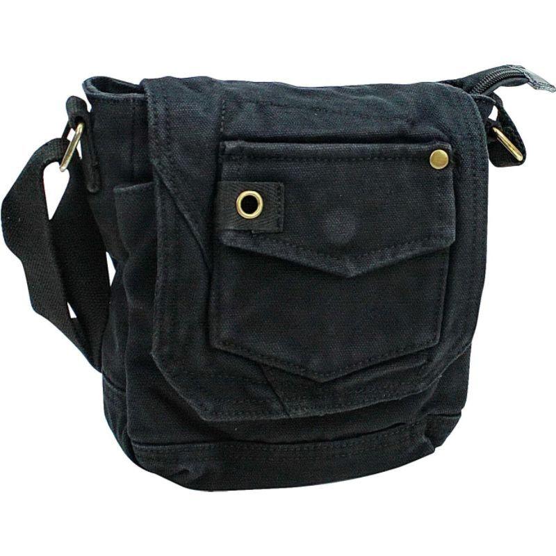 ヴァガボンドトラベラー メンズ ショルダーバッグ バッグ Tall 8 Small Canvas Slim Sling Shoulder Bag Black