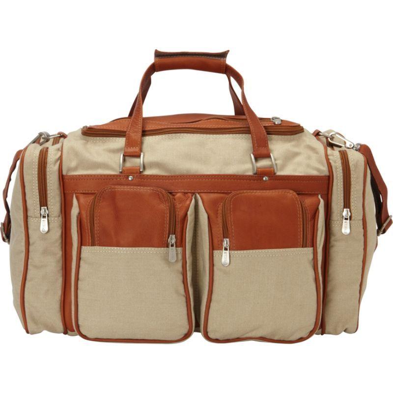 ピエール メンズ スーツケース バッグ 20in Duffel Bag with Pockets - Canvas and Leather Saddle