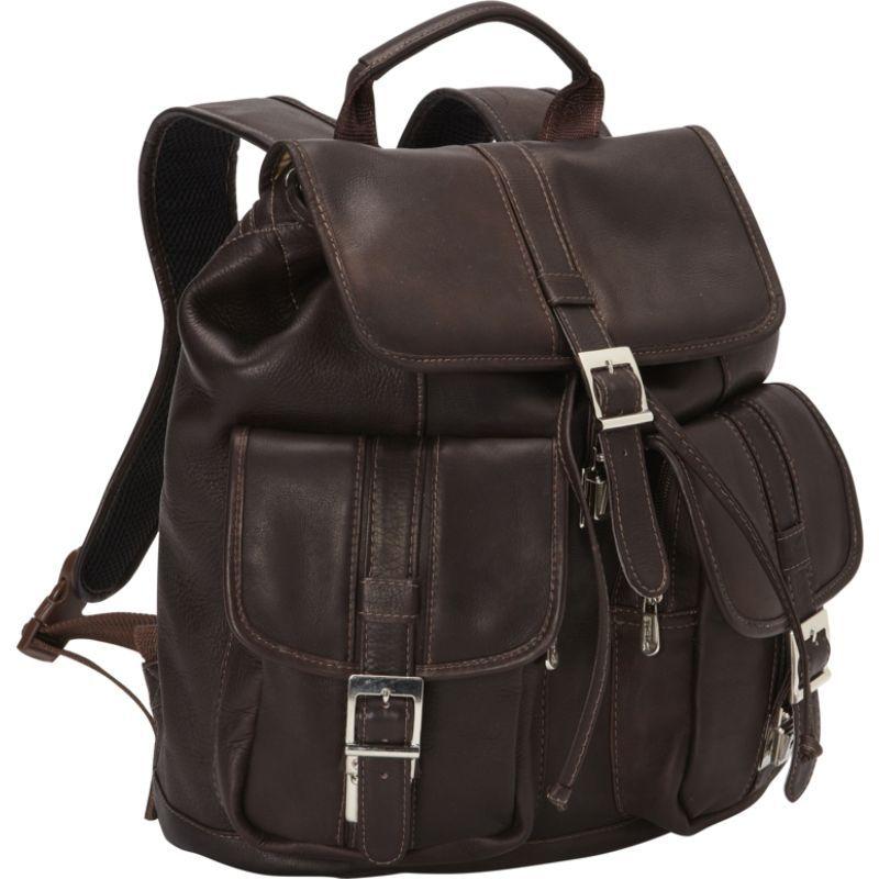 ピエール メンズ バックパック・リュックサック バッグ Medium Drawstring Backpack with Two Front Pockets Chocolate